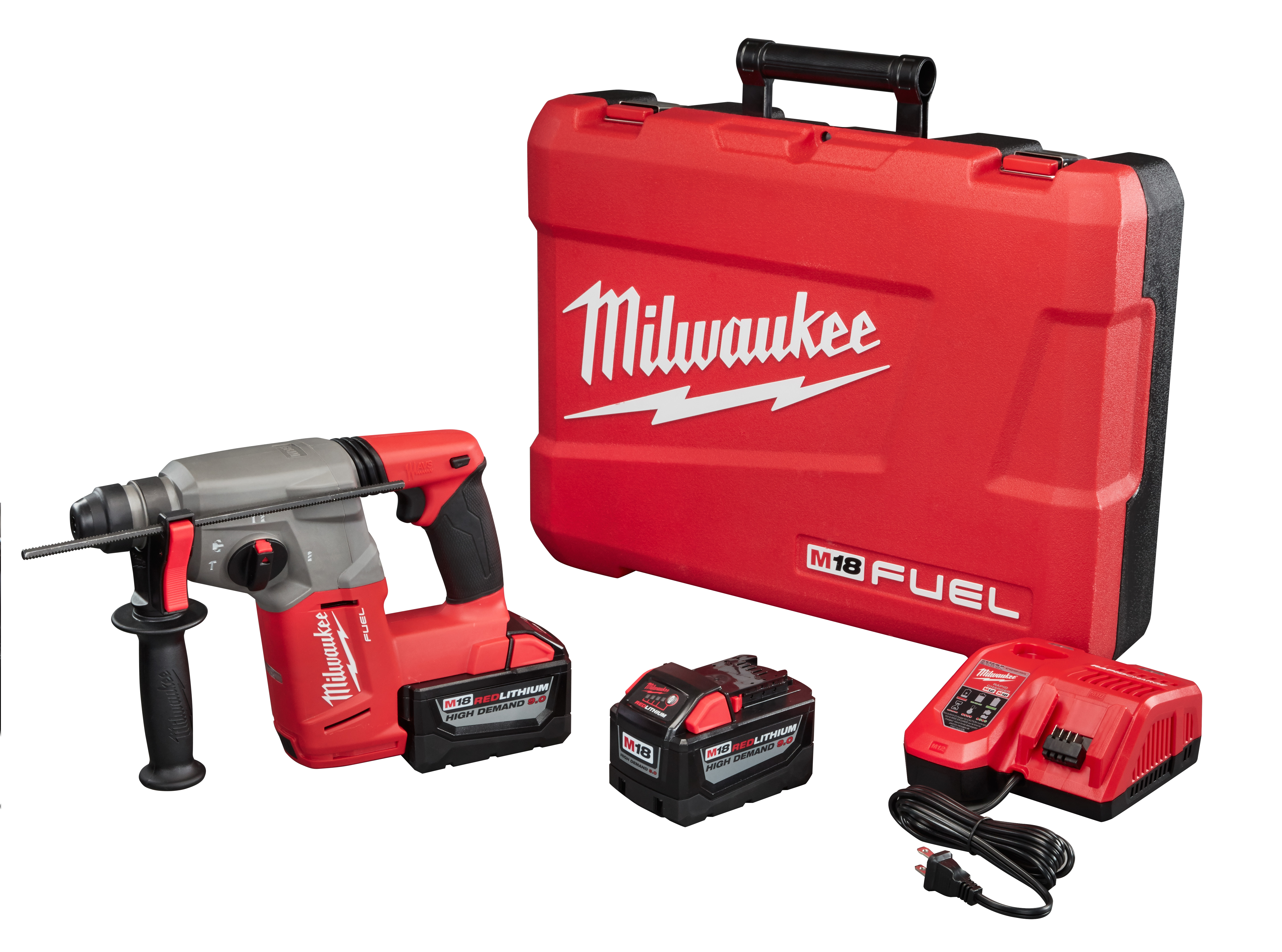 Milwaukee® M18™ FUEL™ 2712-22HD Cordless Rotary Hammer Kit, 1 in SDS Plus® Chuck, 18 VDC, 0 to 1400 rpm No-Load, Lithium-Ion Battery