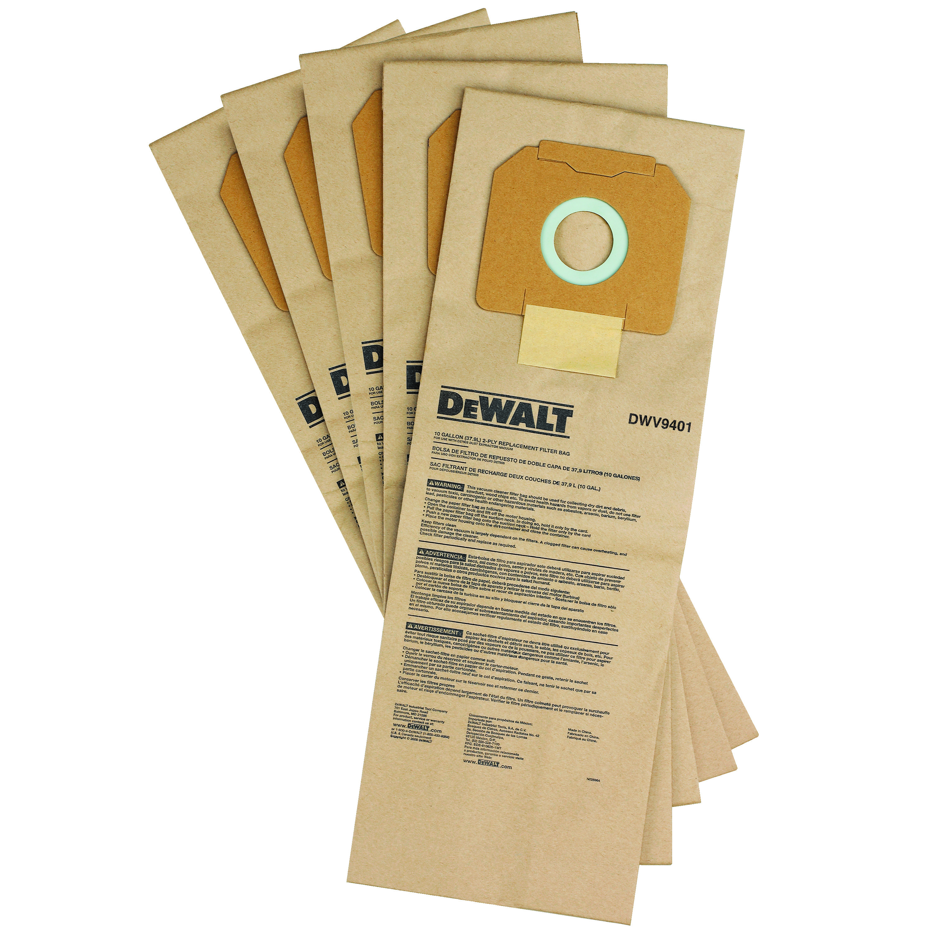 DeWALT® DWV9401 Non-Reusable Paper Bag, 1-7/8 in H x 8-1/2 in W x 3-1/2 in D, Paper, For Use With DWV012 Type 1 Dust Extractor