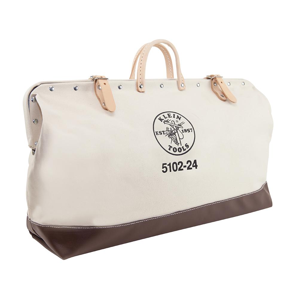 Klein® 5102-24 Heavy Duty Traditional Tool Bag, Canvas, Maroon/Tan