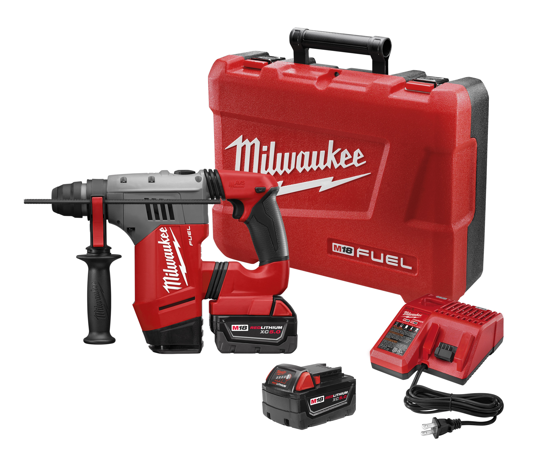 Milwaukee® M18™ FUEL™ 2715-22 Cordless Rotary Hammer Kit, 1-1/8 in Keyless/SDS Plus® Chuck, 18 VDC, 1350 rpm No-Load, Lithium-Ion Battery