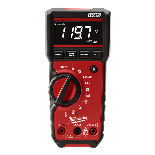 Milwaukee® 2217-20 Digital Multimeter, 600 VDC/VAC, 10 A, 40 MOhm Measuring, 600 VAC/VDC, 10 A, 600 Ohm to 40 MOhm, High Contrast White on Black Display