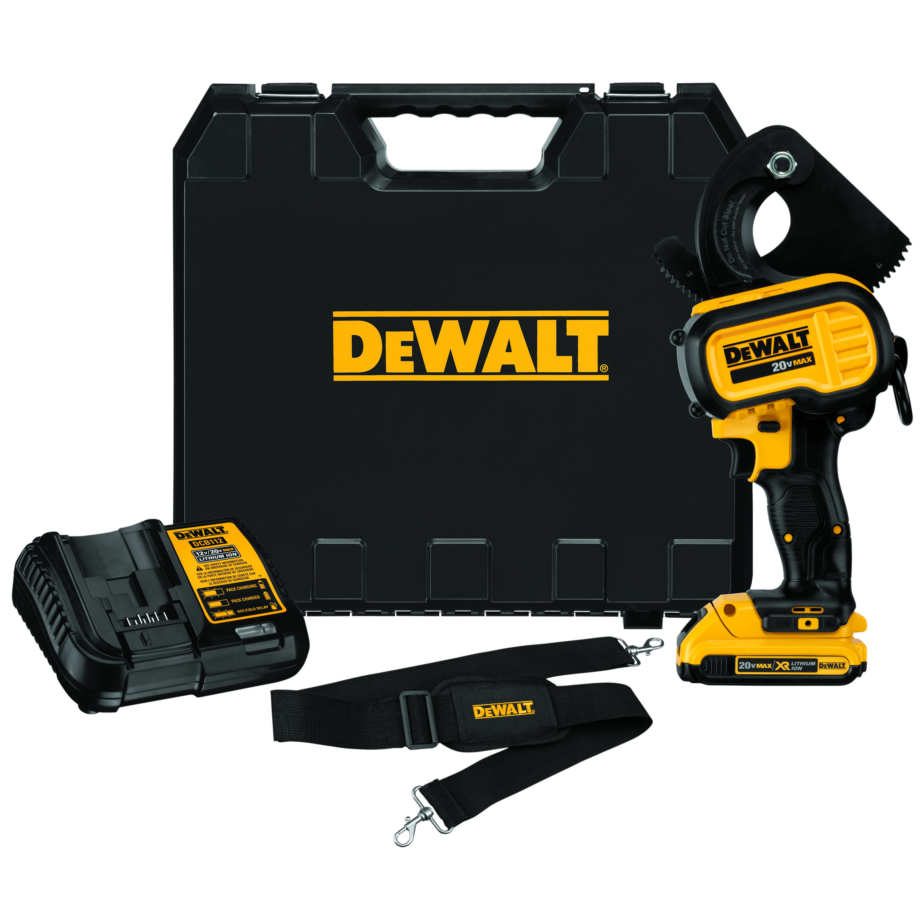DeWALT® DCE150D1 Cordless Cable Cutting Tool Kit, 750 kcmil Copper/1000 kcmil Aluminum Cutting, 20 VDC, Lithium-Ion Battery