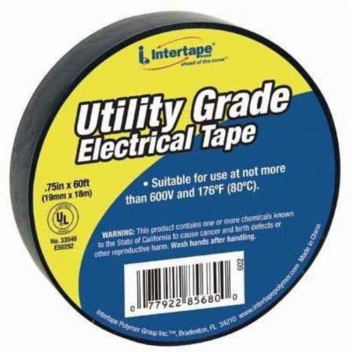 ipg® 602 Economy-Grade General Purpose Electrical Tape, 60 ft L x 3/4 in W, 7 mil THK, Rubber Adhesive, PVC Film Backing, Black