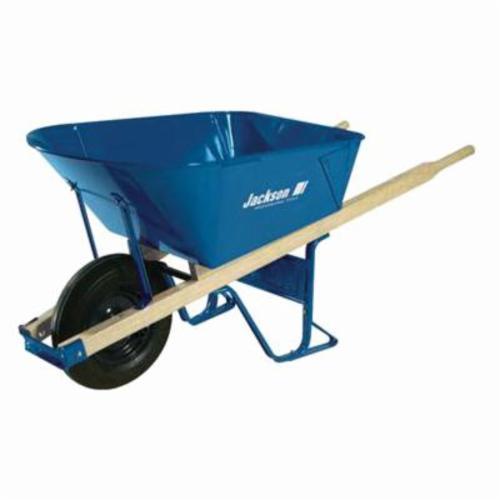 Jackson® M11T22BB Heavy Duty Contractor Wheelbarrow With Folded Tray, Ball Bearing, 6 cu-ft, 1 Wheels, Tubed Tire with Ball Bearing, Steel Tray, Wood Handle