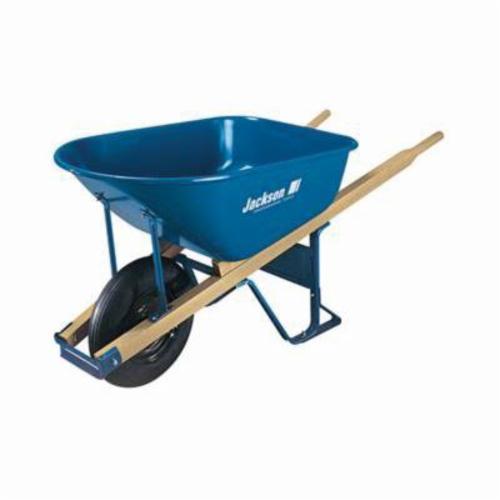 Jackson® 00101700 Heavy Duty Contractor Wheelbarrow, 6 cu-ft, 1 Wheels, Tubed Tire, Steel Tray, Wood Handle