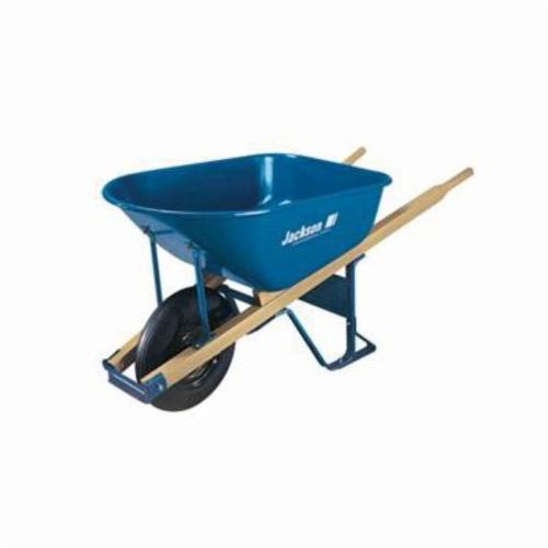 Jackson® M6T22BB Heavy Duty Contractor Wheelbarrow With Ball Bearing, 6 cu-ft, 1 Wheels, Tubed Tire with Ball Bearing, Steel Tray, Wood Handle