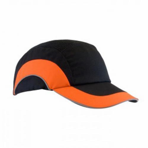 JSP® HARDCAP A1+™ 282-ABR170-18 Baseball Style Low Profile Standard Brim Bump Cap, OS, Black/Hi-Viz Orange, HDPE with EVA Foam Padding Liner/80% Polyester/20% Cotton Cap, Elastic Strip Suspension, Specifications Met: EN 812 A1