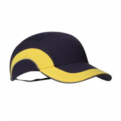 JSP® HARDCAP A1+™ 282-ABR170-52 Baseball Style Low Profile Standard Brim Bump Cap, OS, Navy/Yellow, HDPE with EVA Foam Padding Liner/80% Polyester/20% Cotton Cap, Elastic Strip Suspension, Specifications Met: EN 812 A1