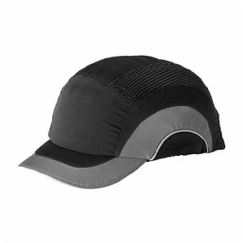 JSP® HARDCAP A1+™ 282-ABS150-12 Adjustable Back Baseball Style Low Profile Short Brim Bump Cap, OS, Black/Gray, HDPE with EVA Foam Padding Liner/80% Polyester/20% Cotton Cap, Elastic Strip Suspension, Specifications Met: EN 812 A1