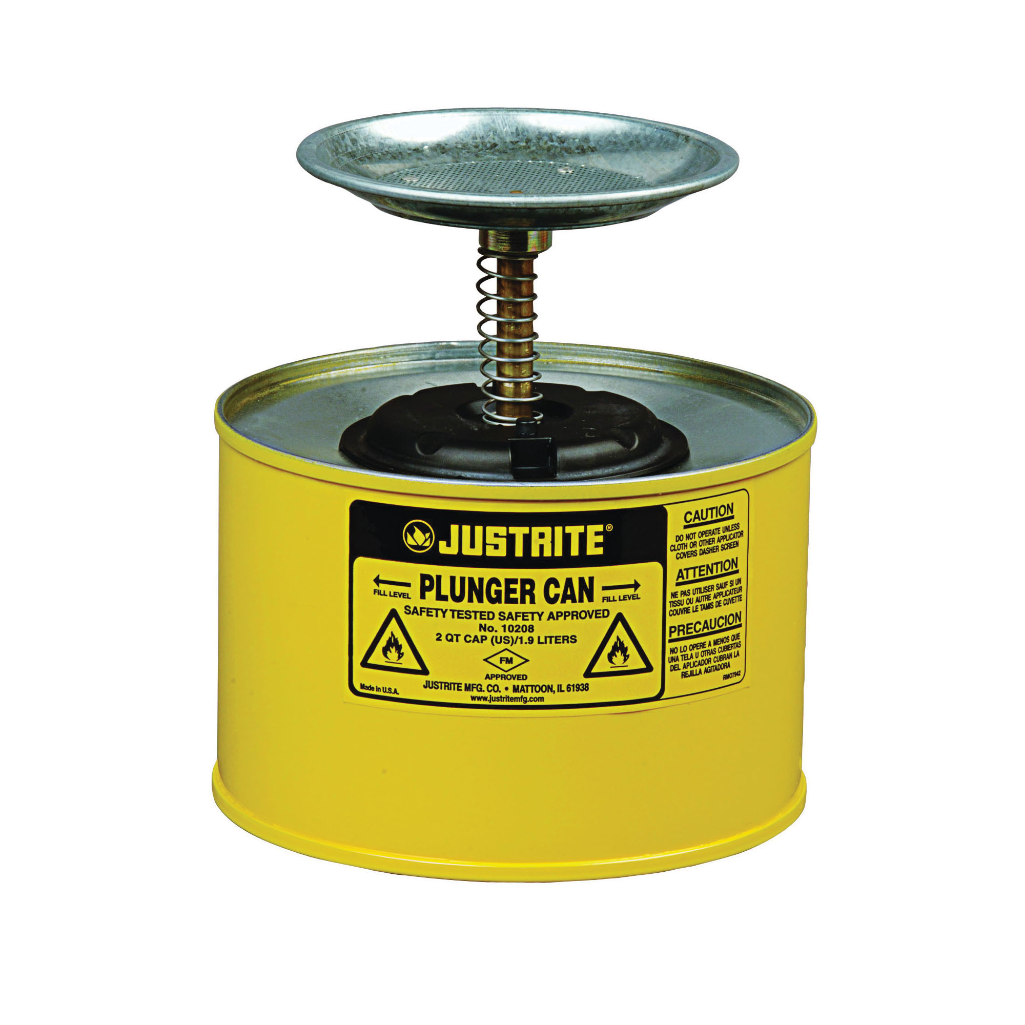 Justrite® 10218 Plunger Dispensing Can, 2 qt, Steel, Yellow, Brass/Ryton® Plunger, 5 in Dia Dasher Plate
