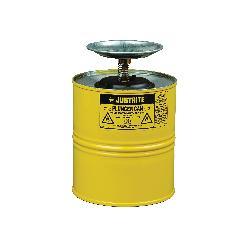 Justrite® 10318 Plunger Dispensing Can, 1 gal, Steel, Yellow, Brass/Ryton® Plunger, 5 in Dia Dasher Plate