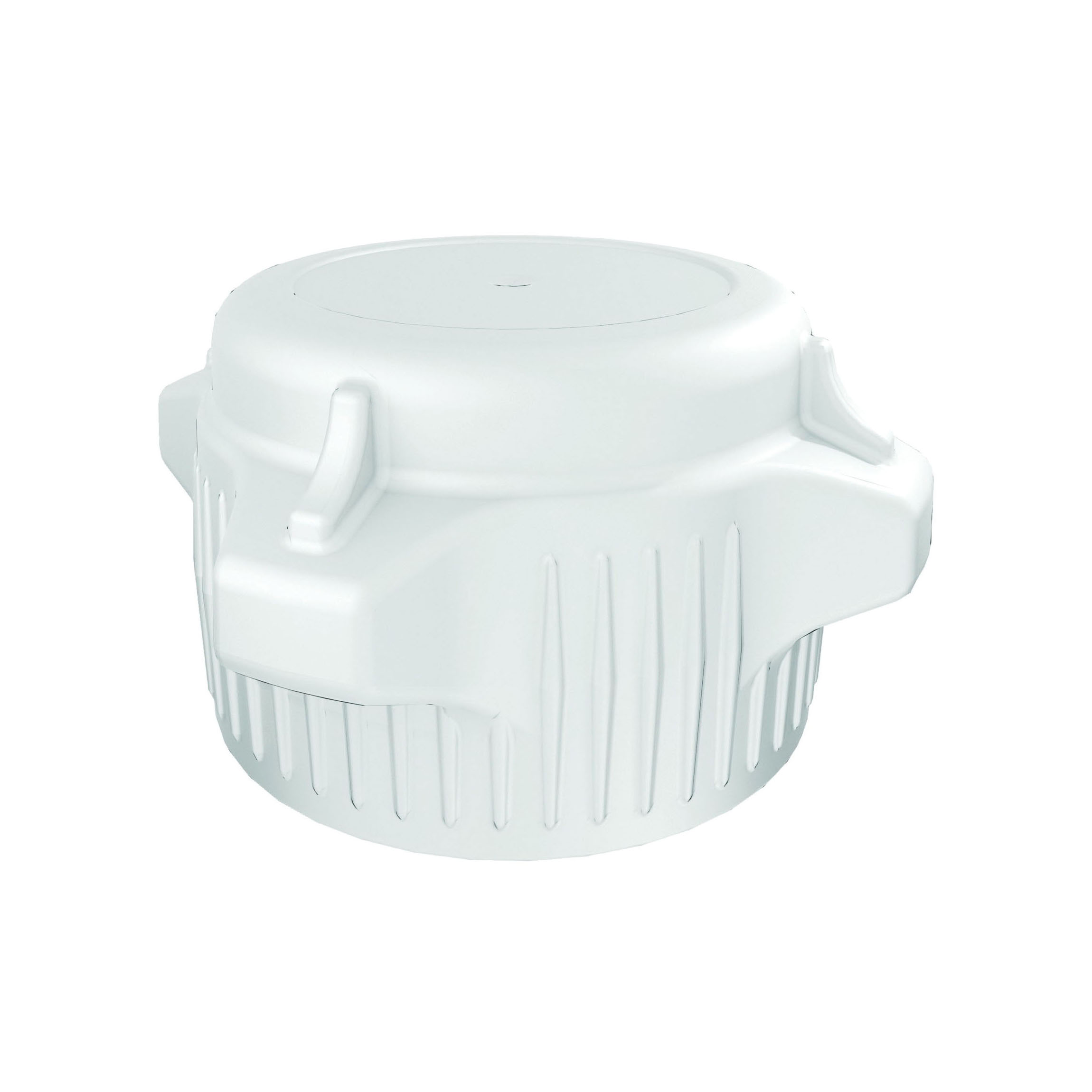 Justrite® 12852 Closed Top Carboy Cap, 3 in Dia x 53 mm Mouth, Polypropylene, White