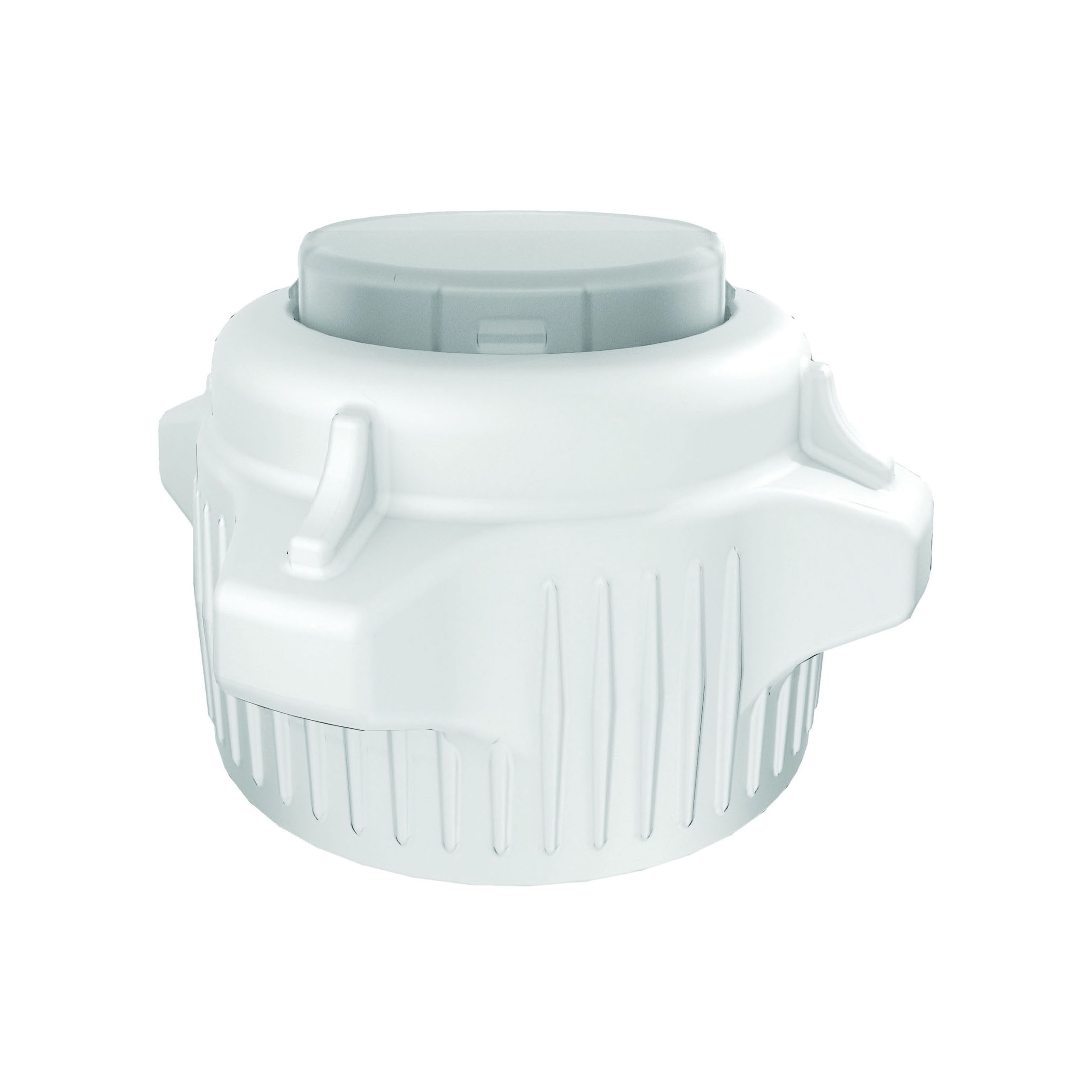 Justrite® 12853 Open Top Carboy Cap With Closed Adapter, 3 in Dia x 53 mm Mouth, Polypropylene, White