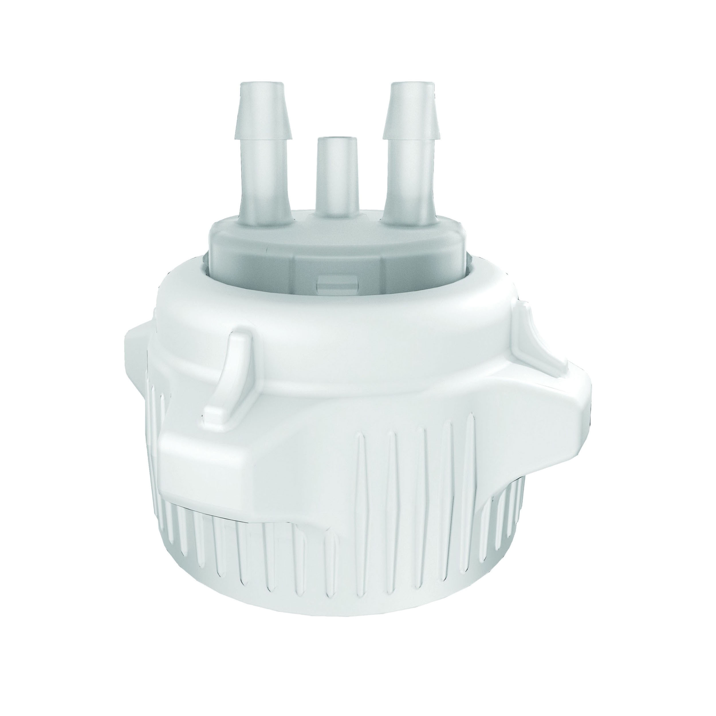 Justrite® 12855 Open Top Carboy Cap With Adapter, (2) 1/4 in Molded-In Hose Barbs and Vent, 3 in Dia x 53 mm Mouth, Polypropylene, White