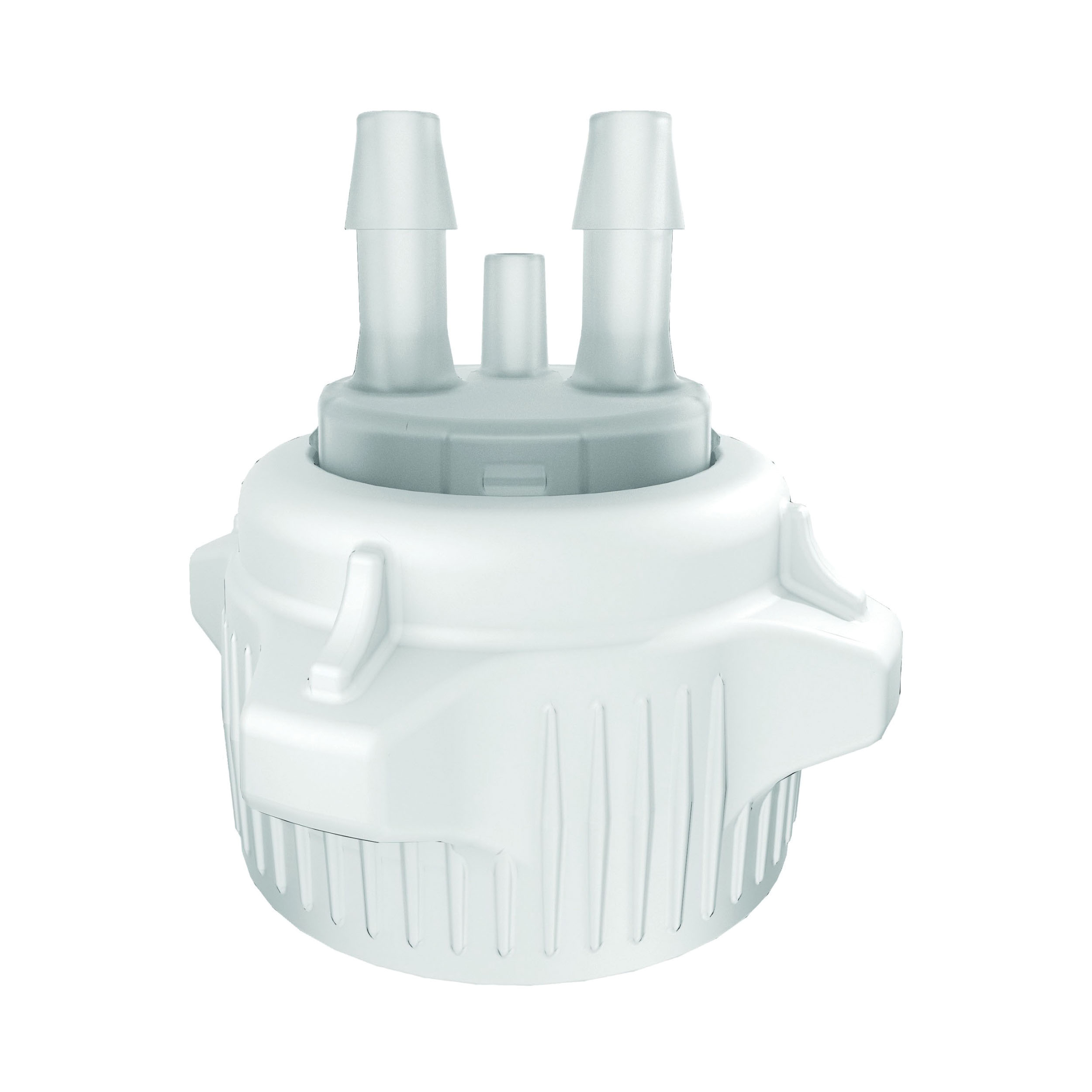 Justrite® 12856 Open Top Carboy Cap With Adapter, (2) 5/16 in Molded-In Hose Barbs and Vent, 3 in Dia x 53 mm Mouth, Polypropylene, White