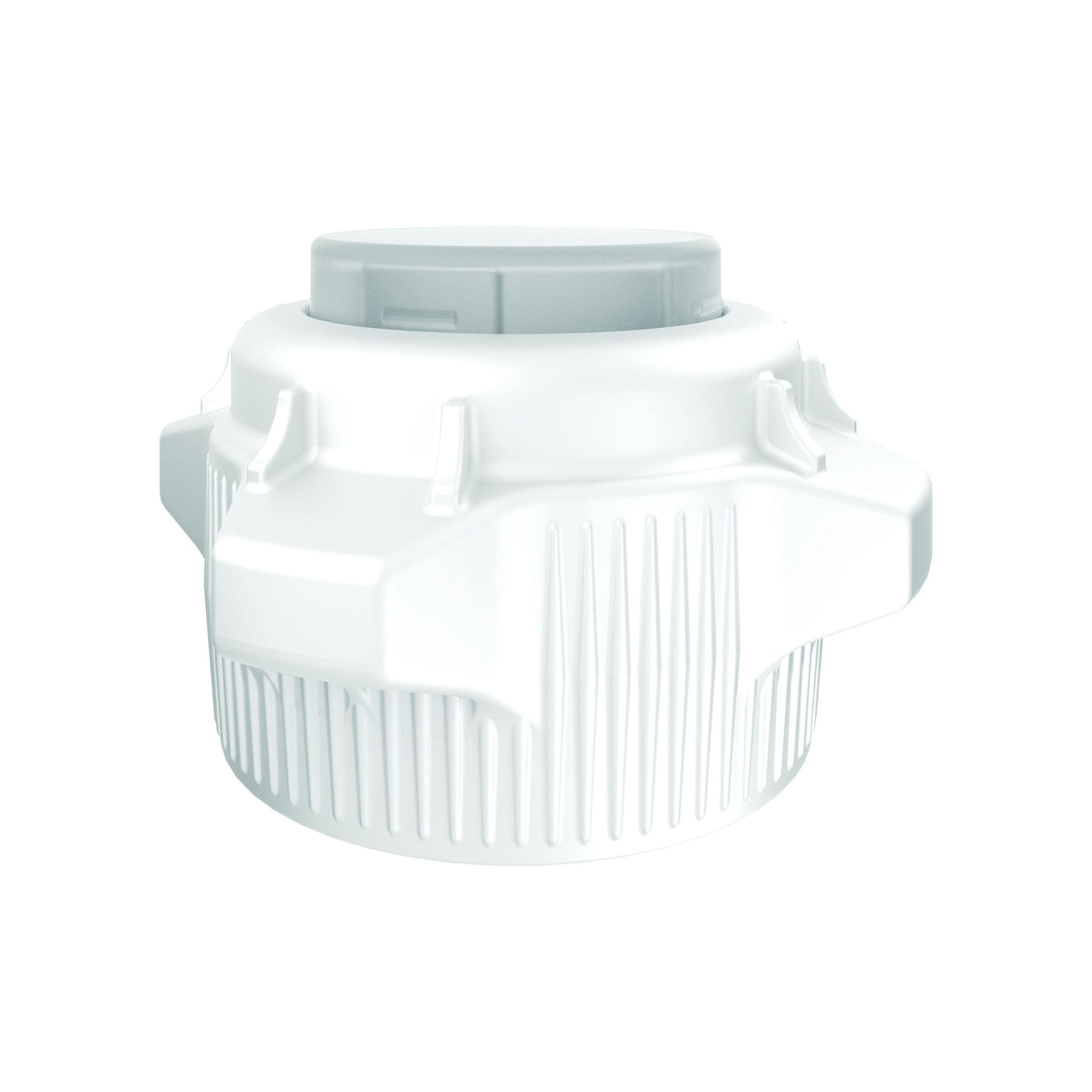 Justrite® 12858 Open Top Carboy Cap With Closed Adapter, 5 in Dia x 83 mm Mouth, Polypropylene, White