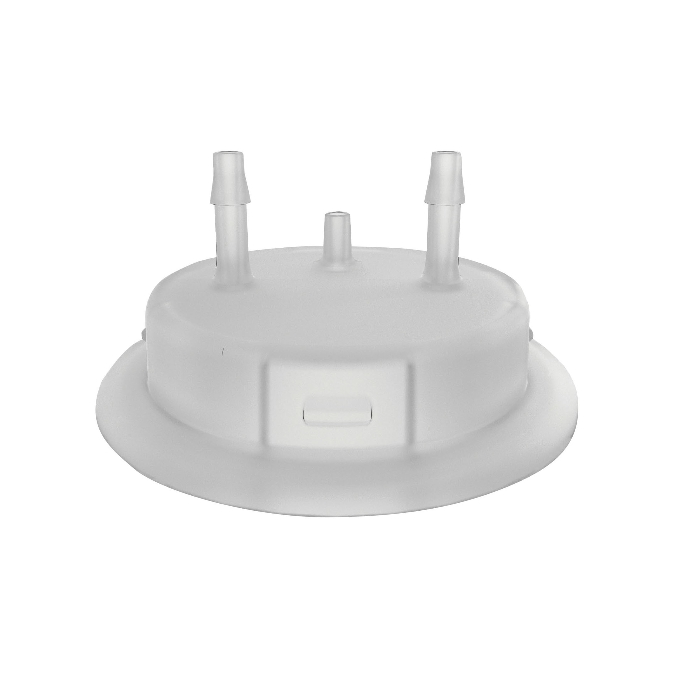 Justrite® 12864 Carboy Cap Adapter With (2) 1/8 in Molded-In Hose Barbs and Vent, 3.2 in Dia x 53 mm Mouth, Polypropylene, White