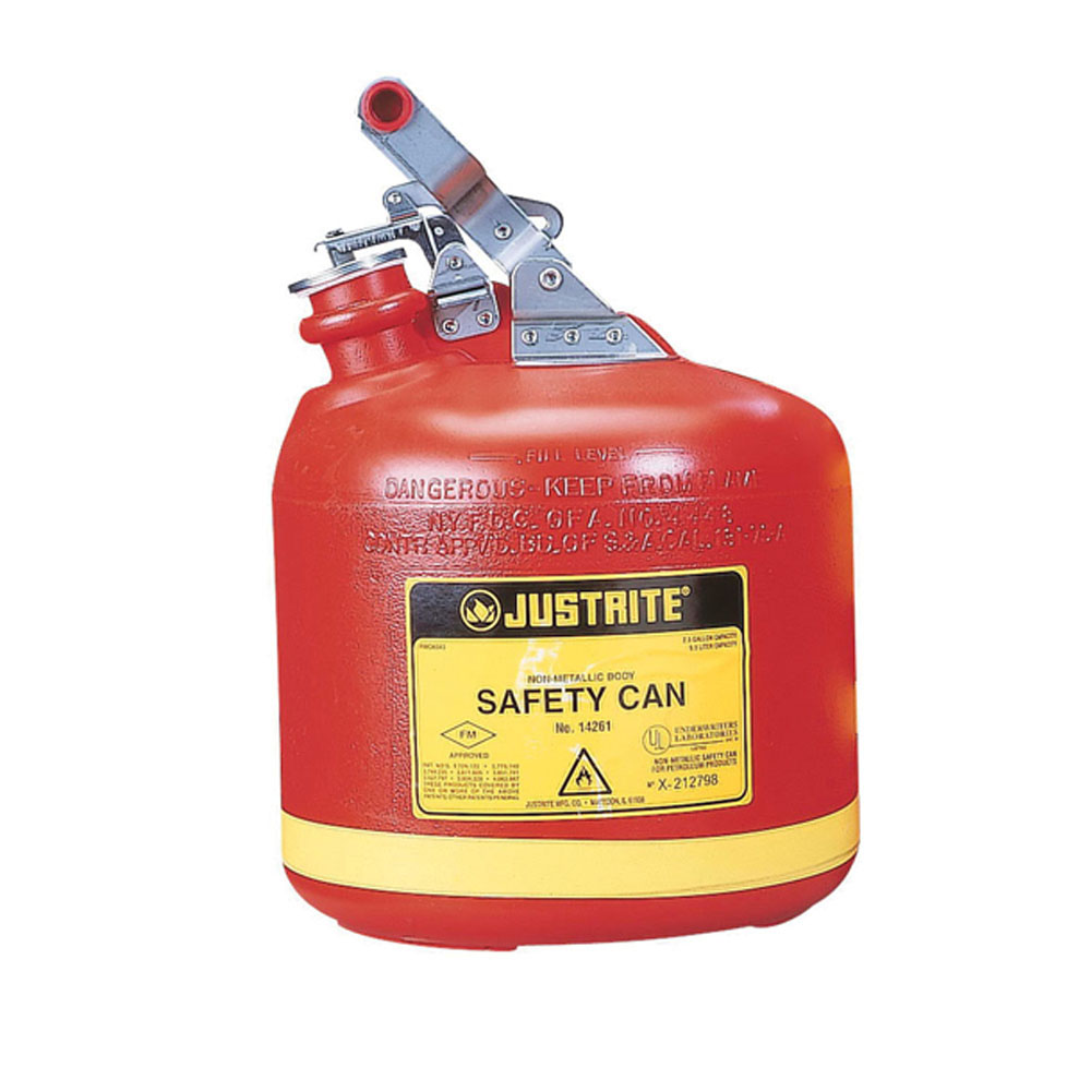 Justrite® 14261 Type I Round Safety Can With Stainless Steel Hardware, 2.5 gal Capacity, 10-3/4 in Dia x 14-1/4 in H, Polyethylene, Red