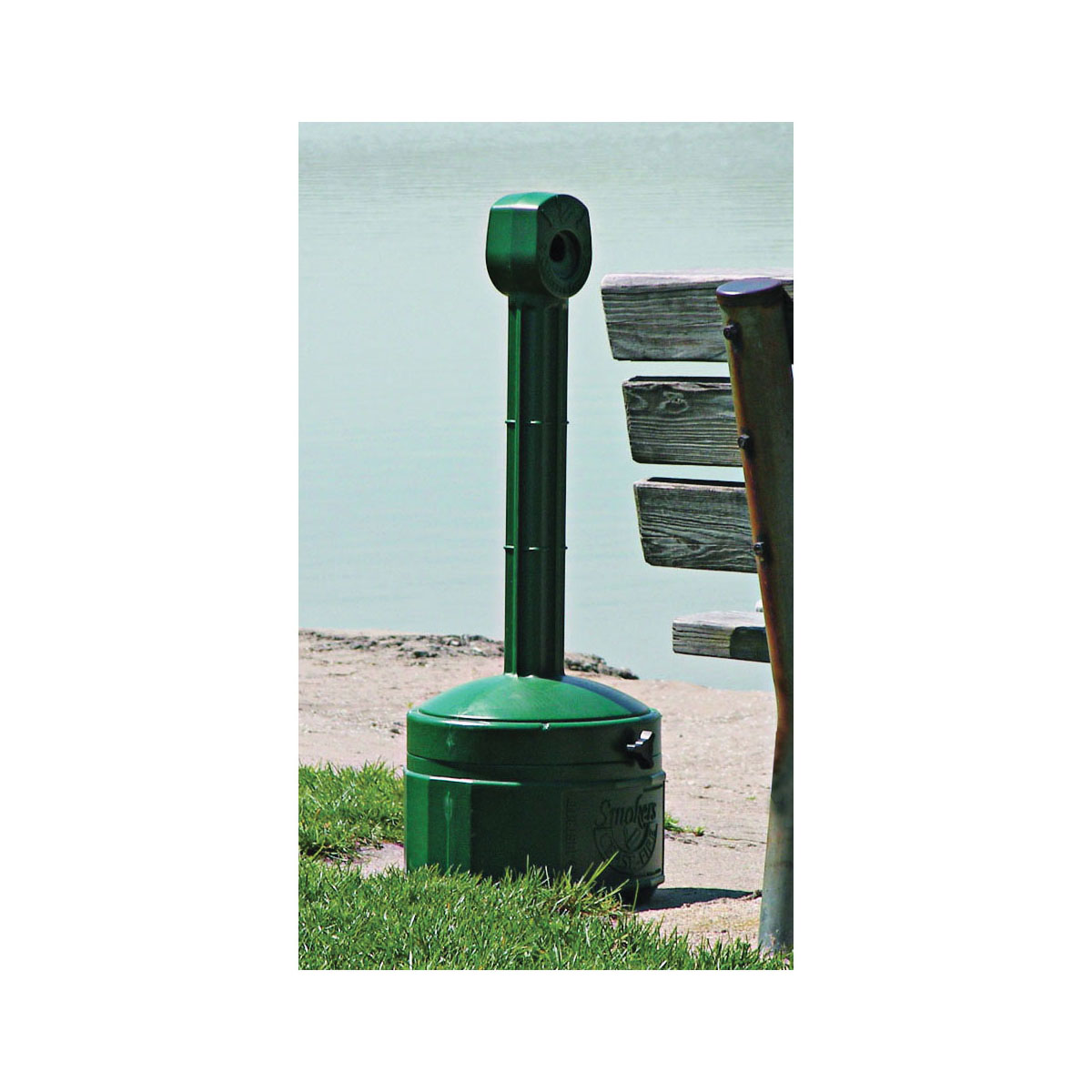 Justrite® 26806G Personal Smoker's Cease-Fire® Medium Duty Cigarette Butt Receptacle, 1 gal Capacity, 30 in H, Polyethylene, Forest Green