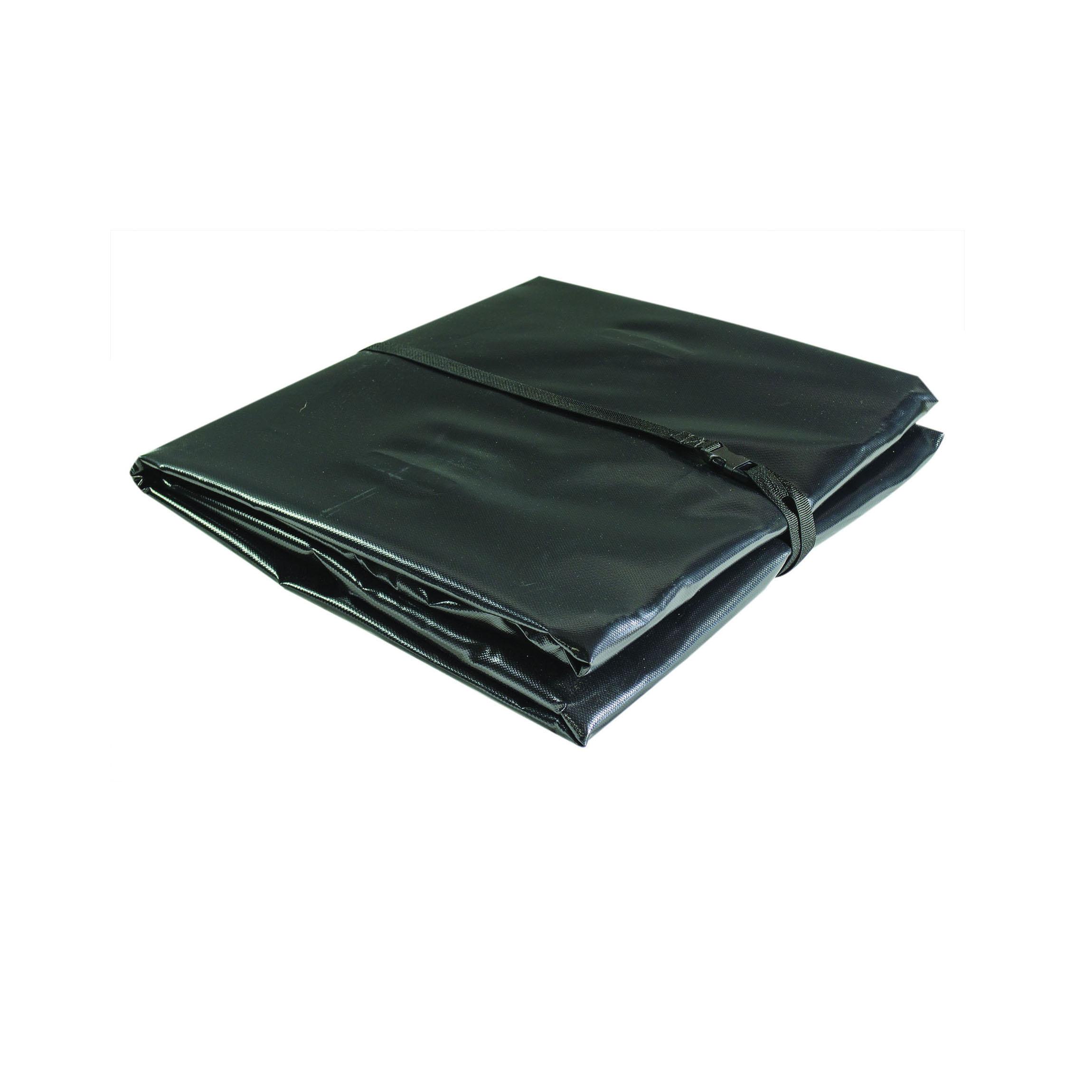 Justrite® 28432 Waterproof Tarp, 5 ft L x 5 ft W Finished, Black, PVC Coated Fabric