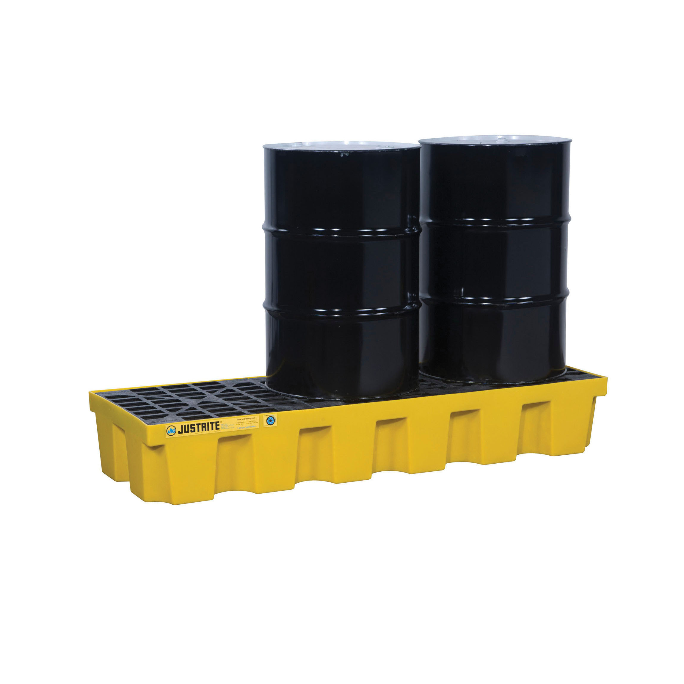 Justrite® 28628 EcoPolyBlend™ Spill Control Pallet With Drain, 3 Drums, 75 gal Spill, 3750 lb Load, 35% Recycled Polyethylene
