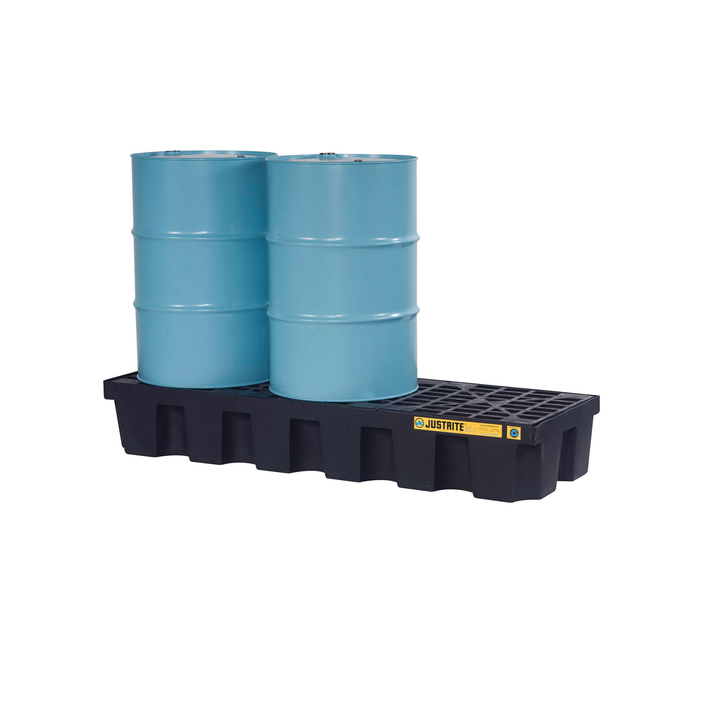 Justrite® 28629 EcoPolyBlend™ Spill Control Pallet With Drain, 3 Drums, 75 gal Spill, 3750 lb Load, 100% Recycled Polyethylene