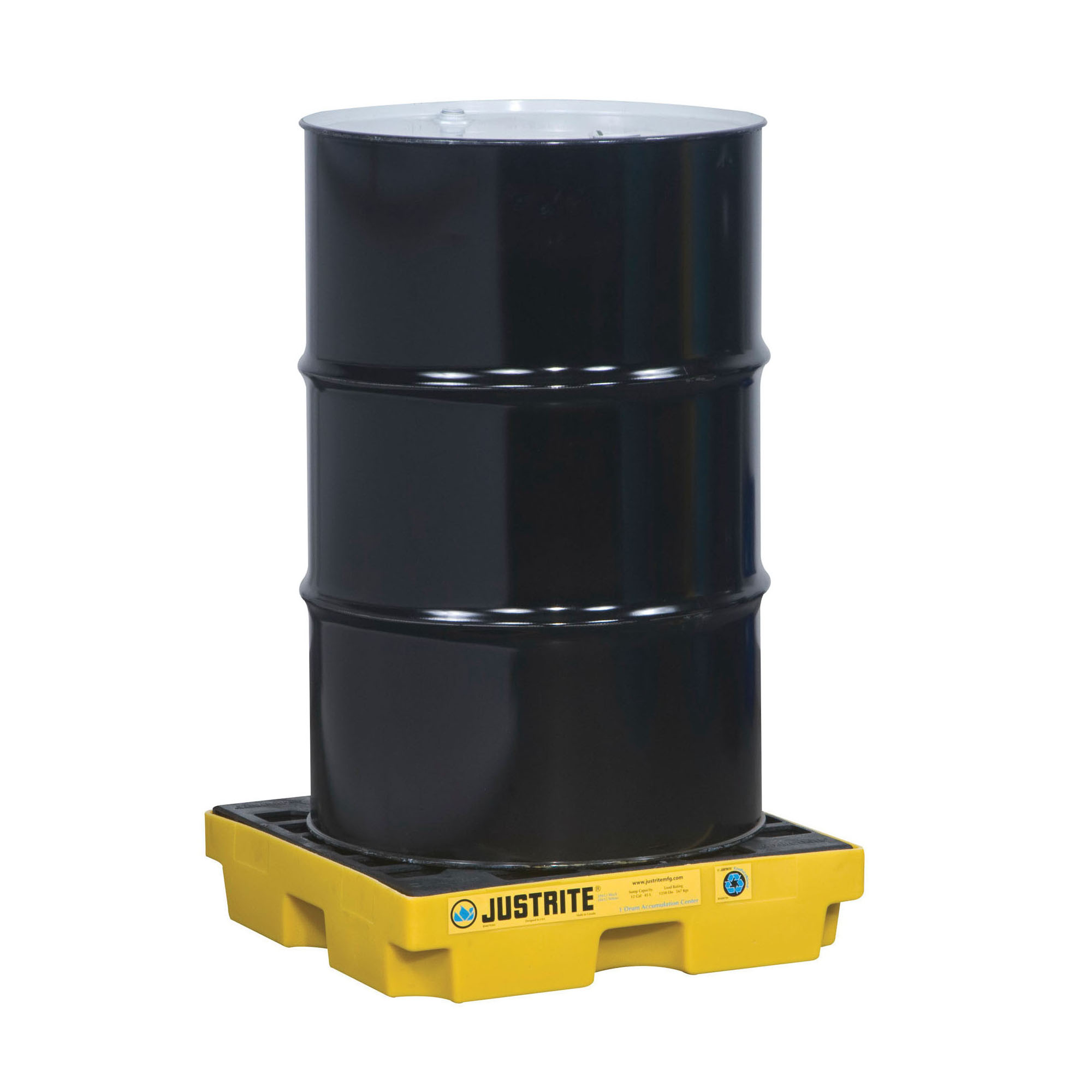 Justrite® 28652 EcoPolyBlend™ Accumulation Center, 1 Drums, 12 gal Spill, 1250 lb Load, 45% Recycled Polyethylene