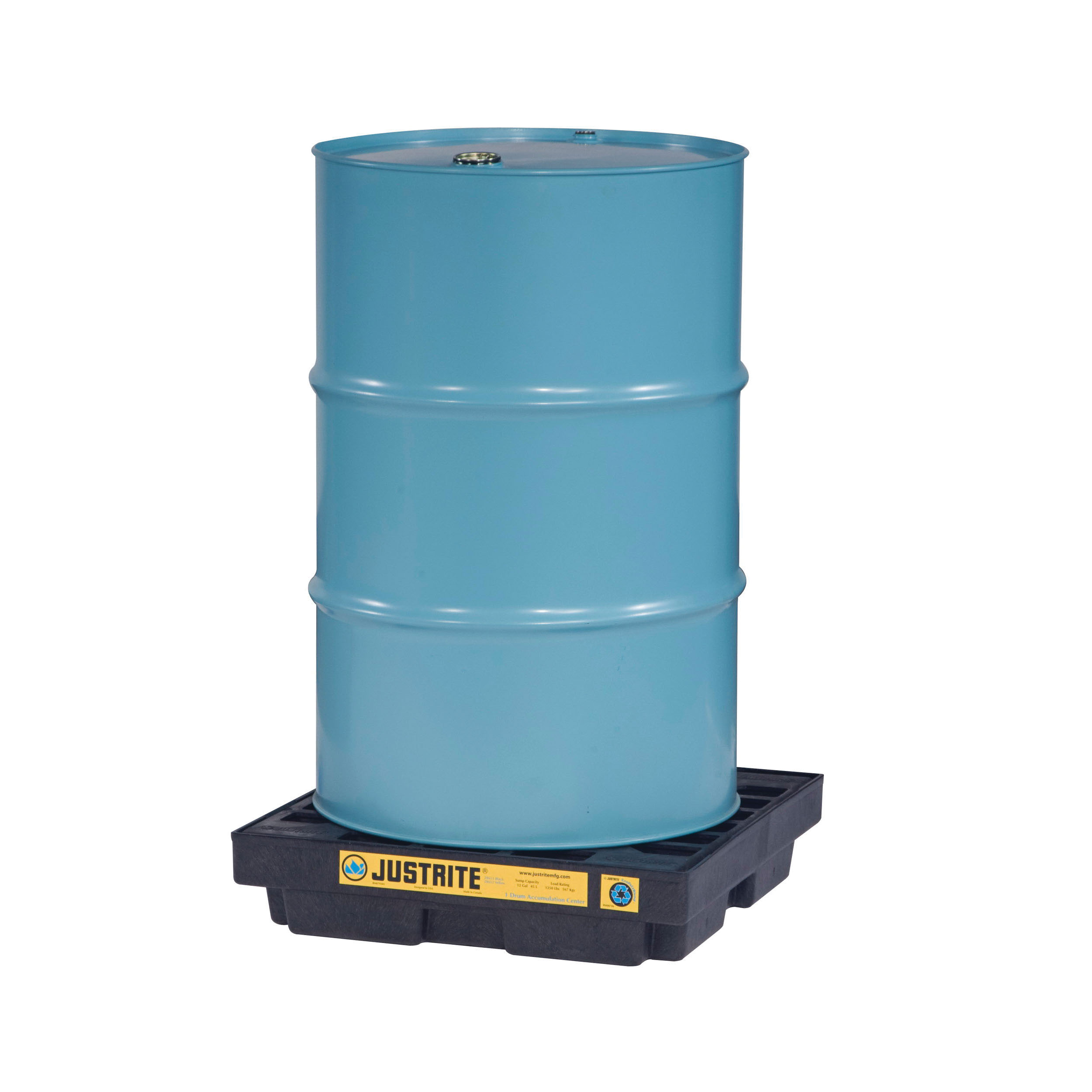 Justrite® 28653 EcoPolyBlend™ Accumulation Center, 1 Drums, 12 gal Spill, 1250 lb Load, 100% Recycled Polyethylene