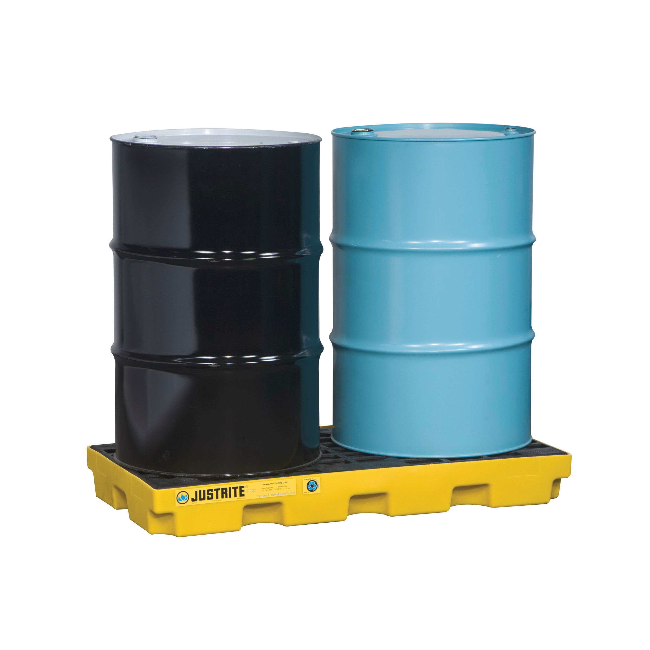 Justrite® 28654 EcoPolyBlend™ Accumulation Center, 2 Drums, 24 gal Spill, 2500 lb Load, 45% Recycled Polyethylene