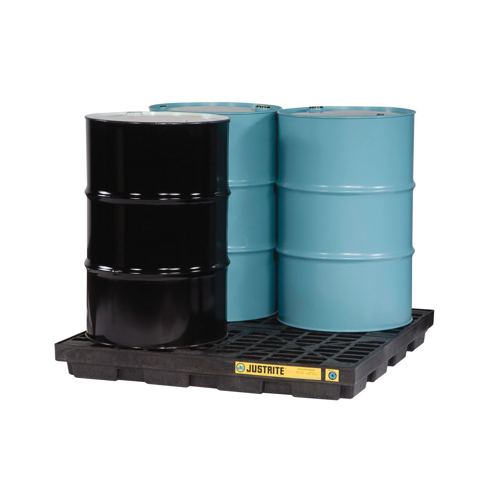 Justrite® 28657 EcoPolyBlend™ Accumulation Center, 4 Drums, 49 gal Spill, 5000 lb Load, 100% Recycled Polyethylene