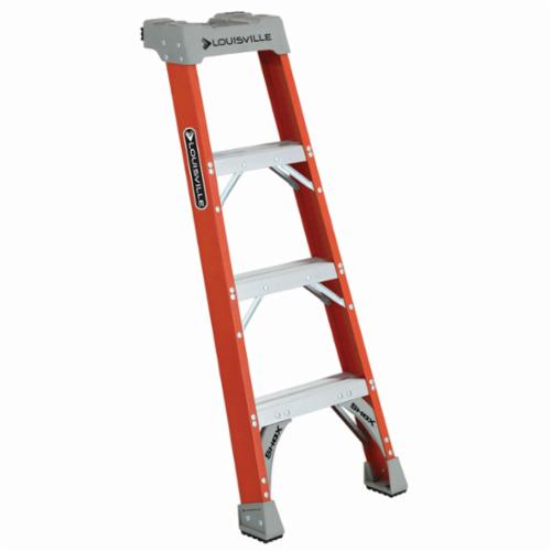 Louisville® FH1504 FH1500 Type IA Extra Heavy Duty Professional Single Shelf Extension Ladder, 4 ft H x 19-3/8 in W, 300 lb Load, 1 ft 11 in Top Step, Fiberglass