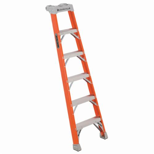 Louisville® FH1506 FH1500 Type IA Extra Heavy Duty Professional Single Shelf Extension Ladder, 6 ft H x 22-3/8 in W, 300 lb Load, 3 ft 10 in Top Step, Fiberglass