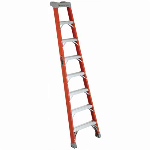 Louisville® FH1508 FH1500 Type IA Extra Heavy Duty Professional Single Shelf Extension Ladder, 8 ft H x 25-5/8 in W, 300 lb Load, 5 ft 8 in Top Step, Fiberglass