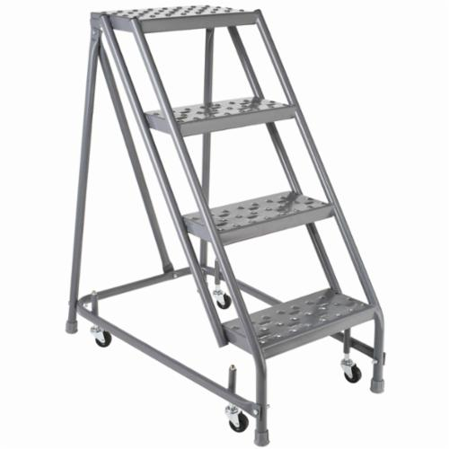 Louisville® GSW1604-W01W03 Type IAA Rolling Warehouse Ladder With 20 in Extra Deep Top, Handrail and Gaudrail, 4 ft Ladder, 450 lb Load, 3 ft 4 in