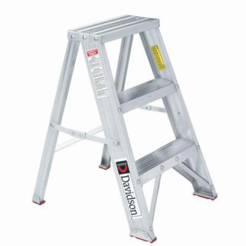 Louisville® L-2311-02 Type III Folding Portable Step Stool With Side Locks, 2 ft H, 200 lb Load, 2 Steps, Aluminum