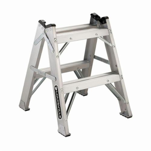 Louisville® L-2433-02 Type IAA Twin Front Step Stool, 24 in H, 375 lb Load, 2 Steps, 22-3/8 in Top Step, Aluminum