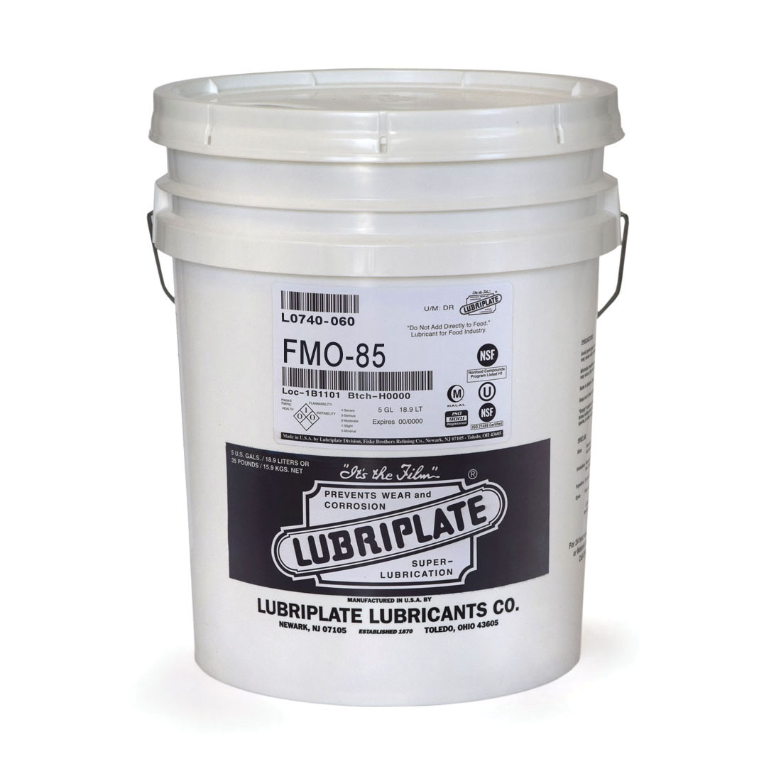 Lubriplate® L0740-060 FMO-85 Multi-Purpose Machine Oil, 5 gal Pail, Mineral Oil Odor/Scent, Liquid Form, Water White