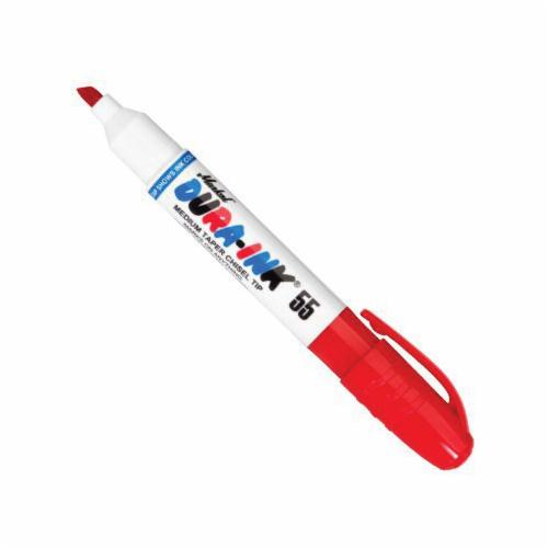 Markal® 096528 Dura-Ink® 55 Multi-Use Permanent Ink Marker, 1/16 to 3/16 in Medium Chisel Tip, Plastic Barrel, Red