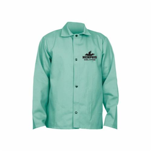 Memphis 39030L Memphis Welding 39030 Welding Jacket With Inside Pocket, L, Fabric Whipcord/L/F Cotton, Green, Resists: Flame, Spark and Splash, ASTM D 6413, NFPA-701