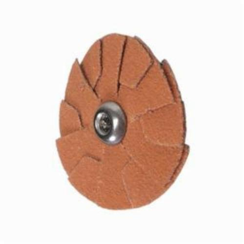 Merit® Blaze® 66261195367 R920 Overlap Quick-Change Slotted Supersized Coated Abrasive Disc With Grinding Aid, 1-1/2 in Dia, 120 Grit, Fine Grade, Ceramic Alumina Abrasive, Cotton Backing