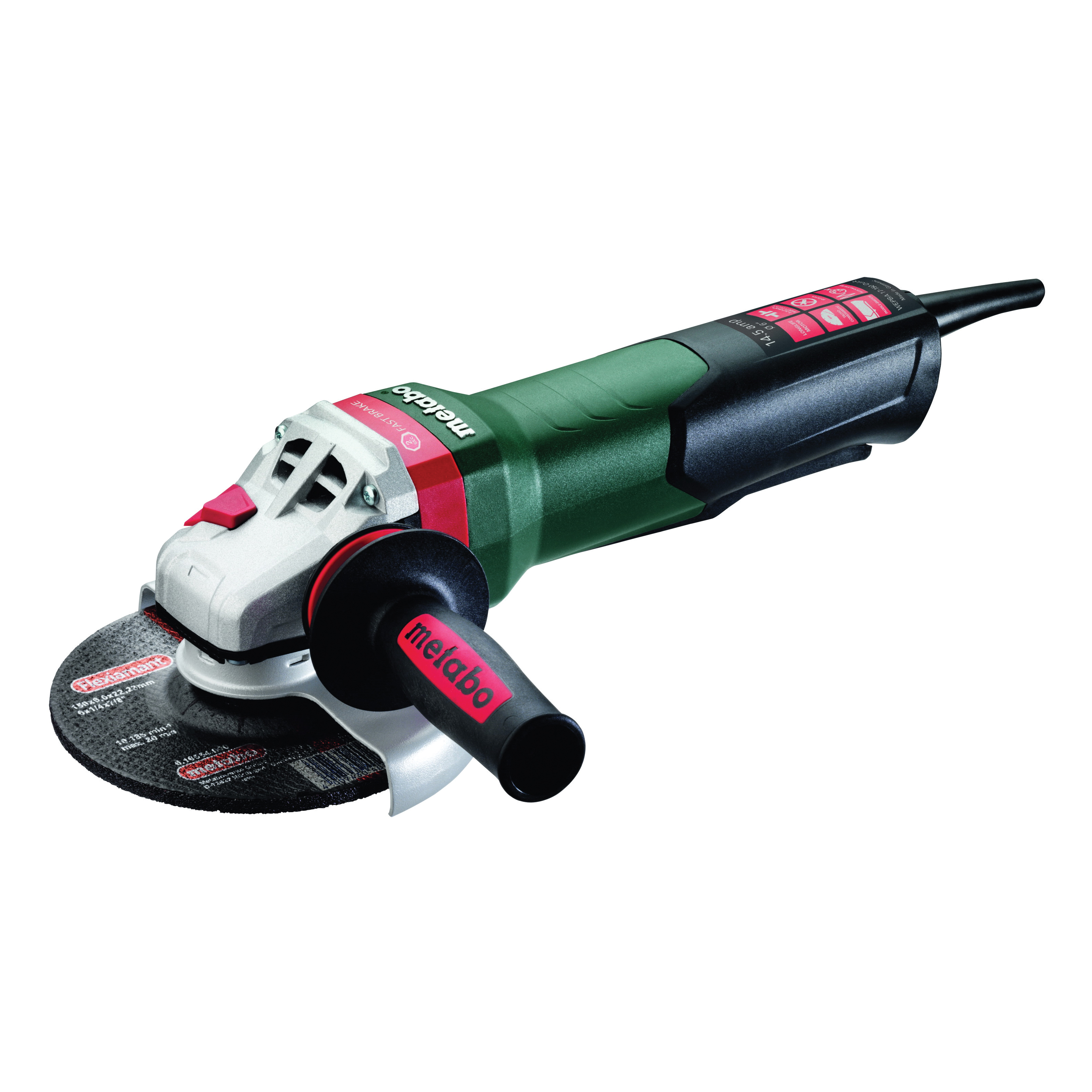 metabo® 600552420 Electric Angle Grinder, 6 in Wheel, 5/8-11 UNC, 110 to 120 VAC, Tool Only