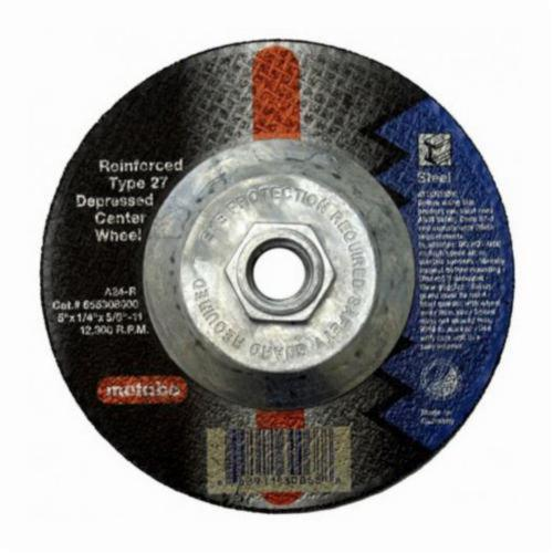 metabo® 616307000 Original Grinding® Long Life General Purpose Depressed Center Wheel, 4-1/2 in Dia x 1/4 in THK, 7/8 in Center Hole, A24R Grit, Aluminum Oxide Abrasive
