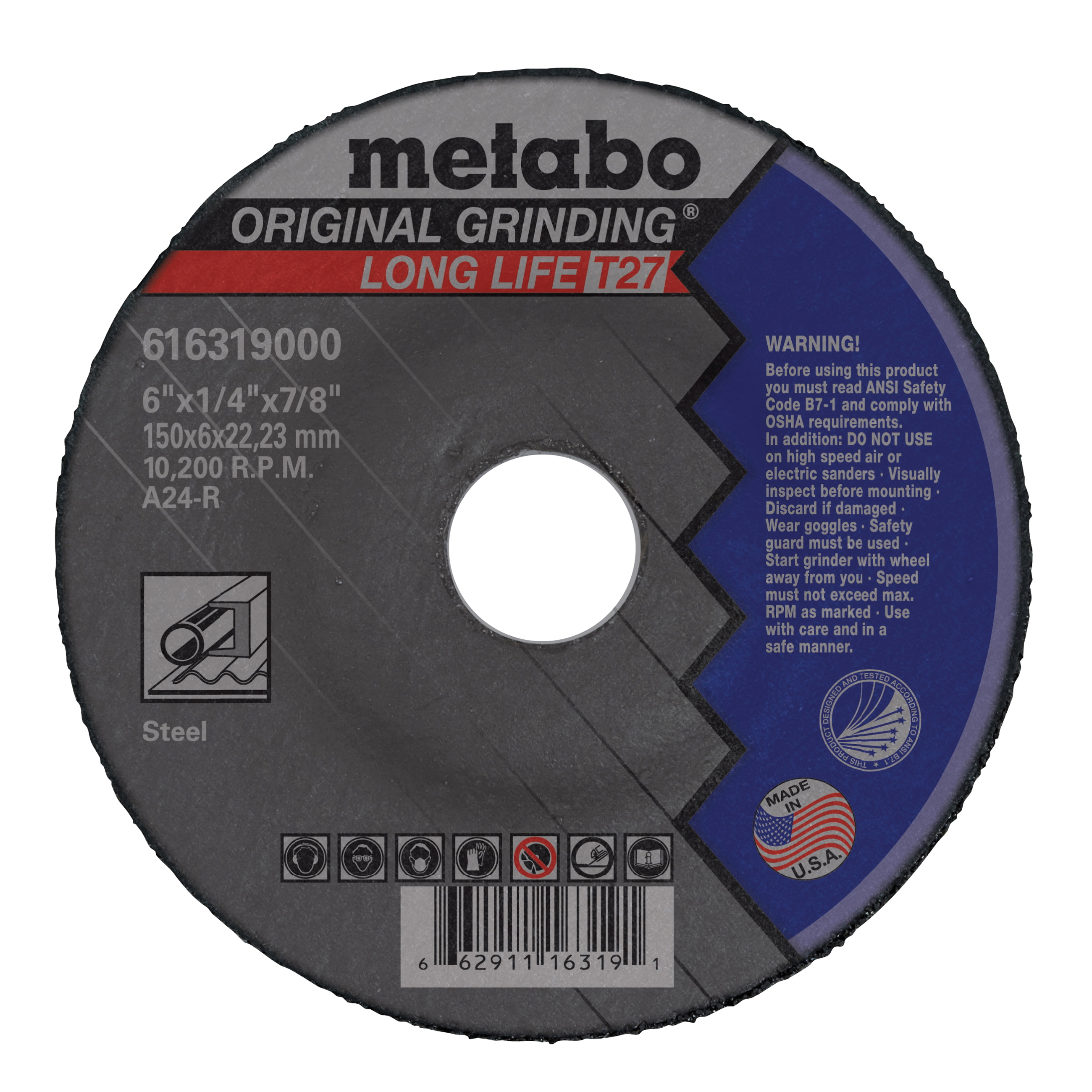 metabo® 616319000 Original Grinding® Long Life General Purpose Depressed Center Wheel, 6 in Dia x 1/4 in THK, 7/8 in Center Hole, A24R Grit, Aluminum Oxide Abrasive