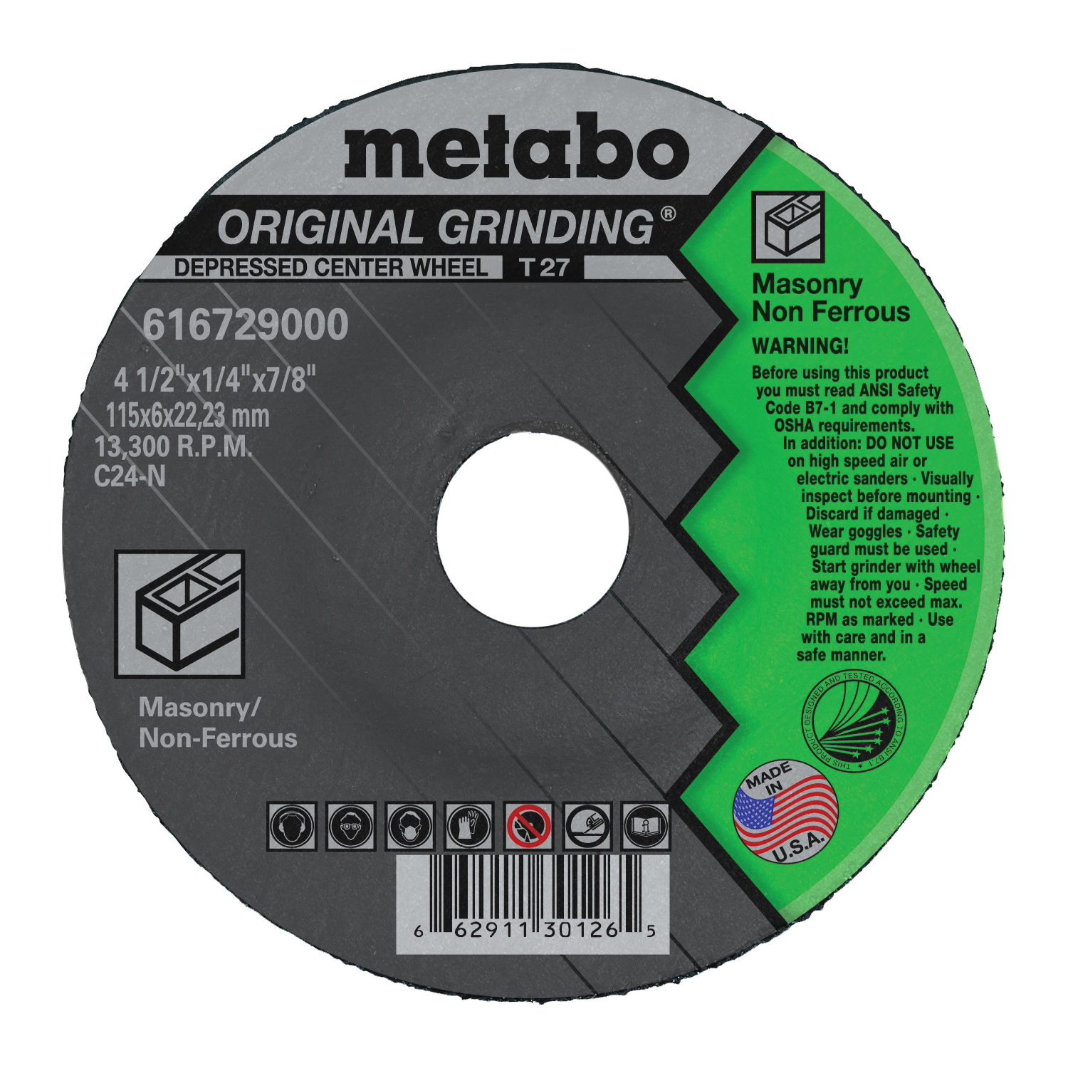 metabo® 616729000 Original Grinding® General Purpose Depressed Center Wheel, 4-1/2 in Dia x 1/4 in THK, 7/8 in Center Hole, C24N Grit, Silicon Carbide Abrasive