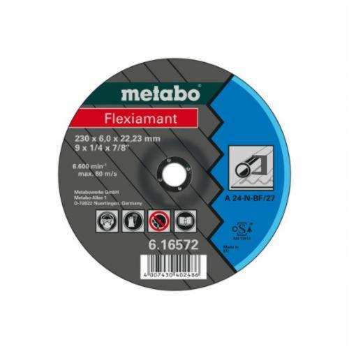 metabo® Flexiamant 616730000 Original Grinding® General Purpose Depressed Center Wheel, 5 in Dia x 1/4 in THK, 7/8 in Center Hole, A24N Grit, Aluminum Oxide Abrasive