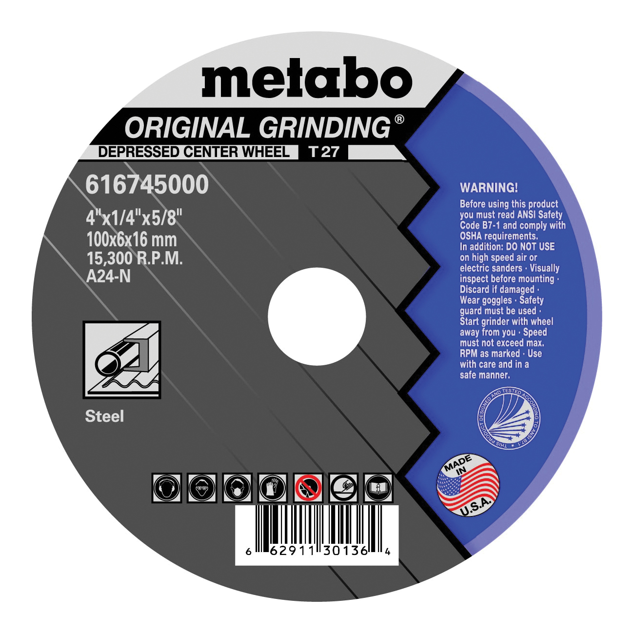 metabo® Flexiamant 616745000 Original Grinding® General Purpose Depressed Center Wheel, 4 in Dia x 1/4 in THK, 5/8 in Center Hole, A24N Grit, Aluminum Oxide Abrasive