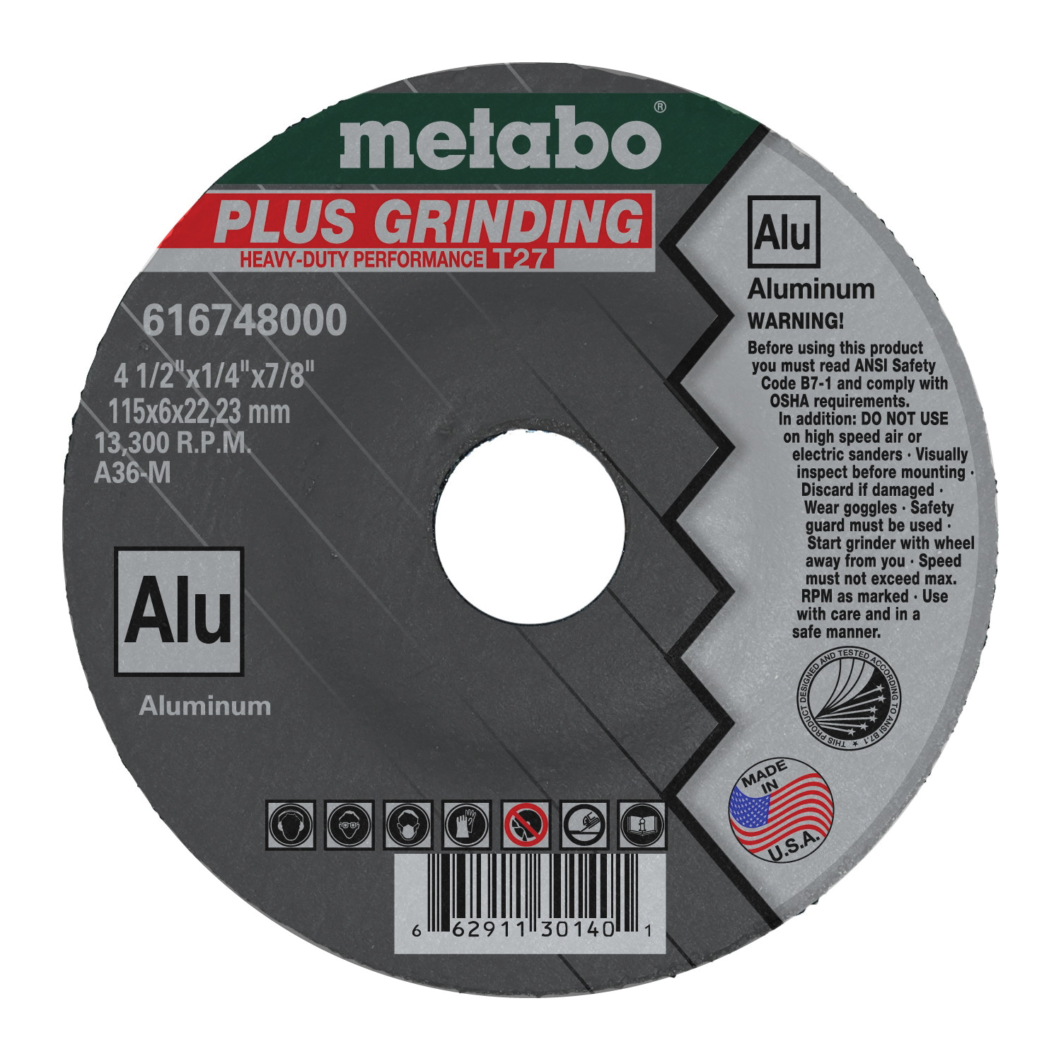 metabo® 616748000 Plus Grinding Depressed Center Wheel, 4-1/2 in Dia x 1/4 in THK, 7/8 in Center Hole, A36M Grit, Aluminum Oxide Abrasive