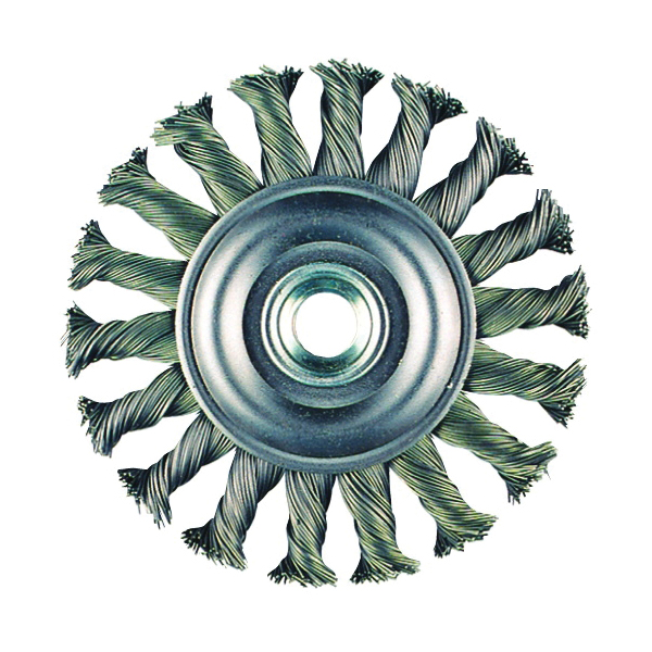 metabo® 655136000 Wheel Brush, 4 in Dia Brush, 3/8 in W Face, 0.02 in Dia Knot Filament/Wire, 5/8-11 Arbor Hole