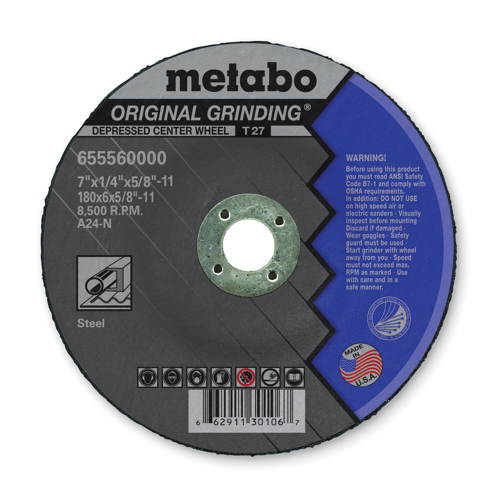 metabo® 655560000 Original Grinding® General Purpose Depressed Center Wheel With Hub, 7 in Dia x 1/4 in THK, A24N Grit, Aluminum Oxide Abrasive