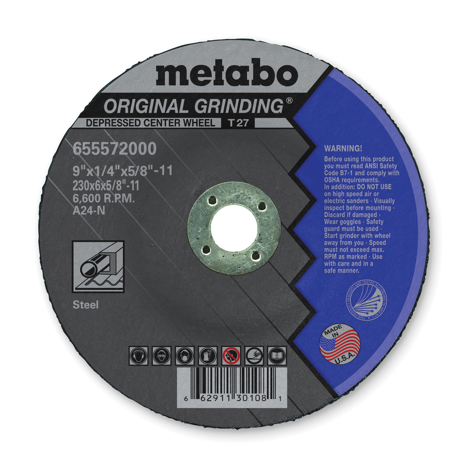 metabo® 655572000 Original Grinding® General Purpose Depressed Center Wheel With Hub, 9 in Dia x 1/4 in THK, A24N Grit, Aluminum Oxide Abrasive
